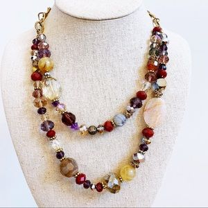 Multi Layer Antique Gold Tone Stone Gem Necklace